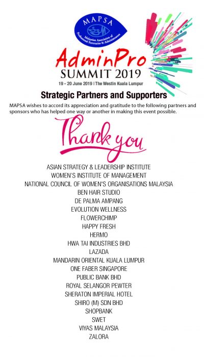 APS2019 Thank you List Sponsors Acknowledgement
