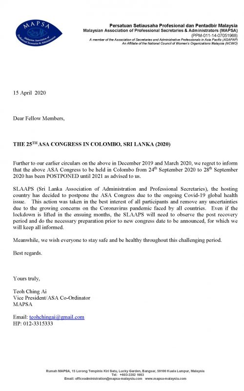 POSTPONEMENT OF 2020 ASA CONGRESS in Sri Lanka