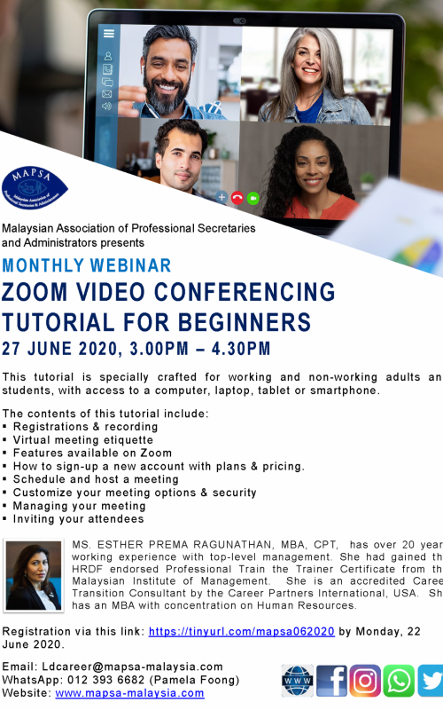 poster Zoom Tutorial - 27 June 2020